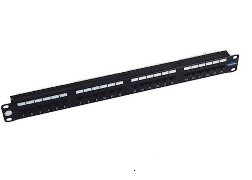 Metal Frame 24 Port Rack Mount Patch Panel CAT5e 110 IDC UTP Unshielded
