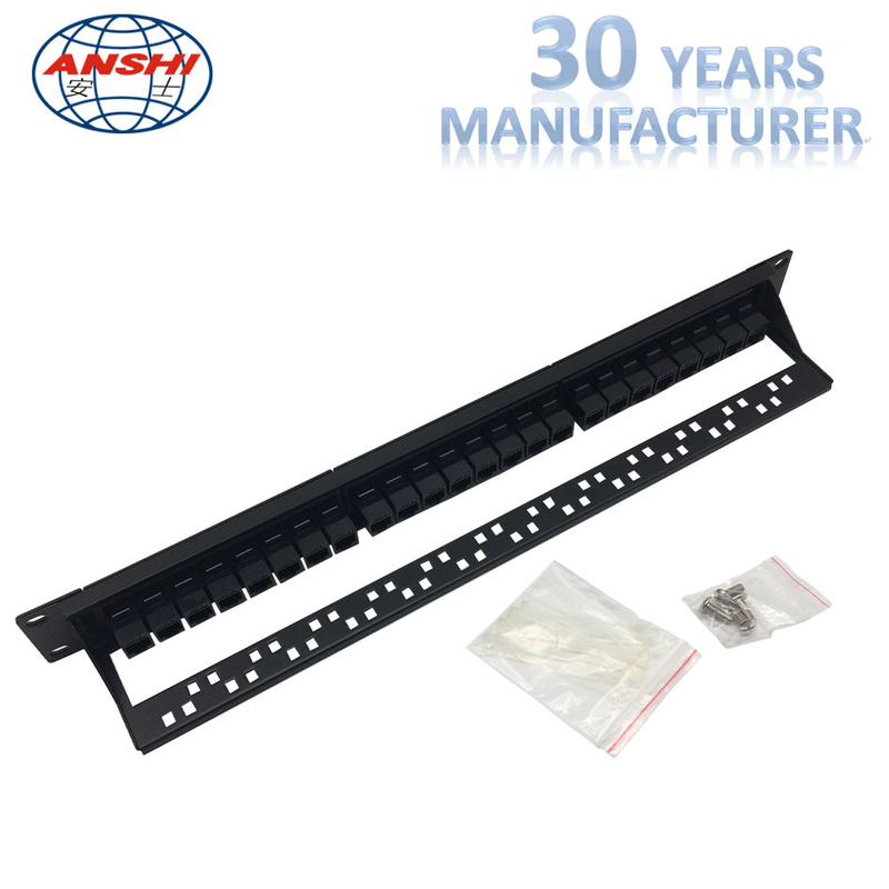 Black Rack Mount Patch Panel 19inch Unshielded Type With SGS Certificate